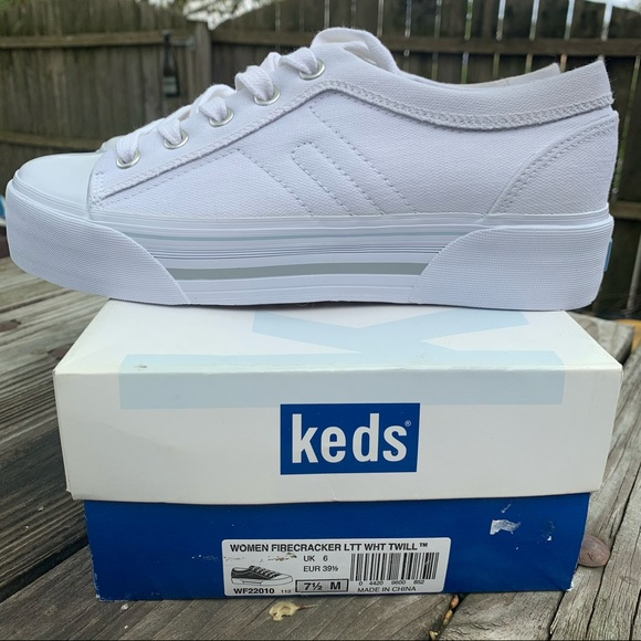 Keds Firecracker white canvas platform shoes- 7.5